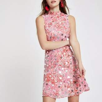 River Island Pink sequin embellished mini dress