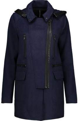 Walter W118 By Baker Carol Faux Leather-Trimmed Woven Hooded Coat
