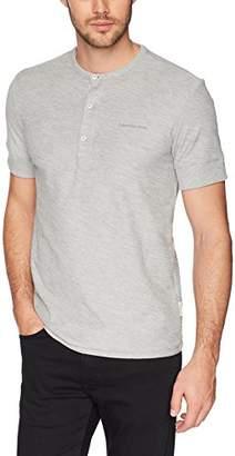 Calvin Klein Jeans Men's Short Sleeve Henley Shirt with Three Button Placket
