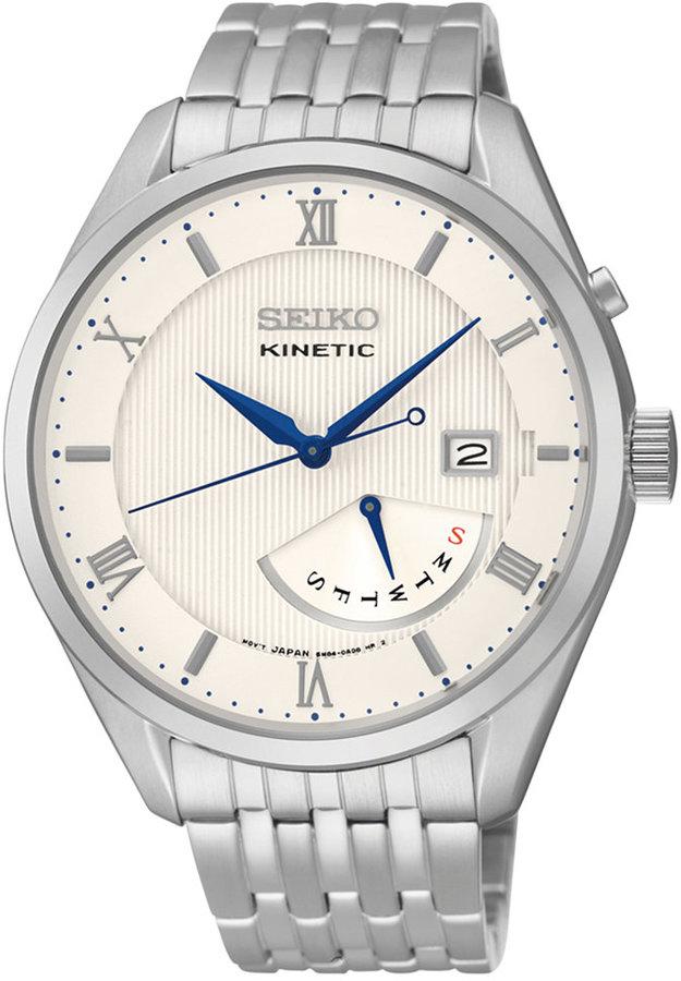 SeikoSeiko Men's Kinetic Retrograde Stainless Steel Bracelet Watch 42mm SRN055