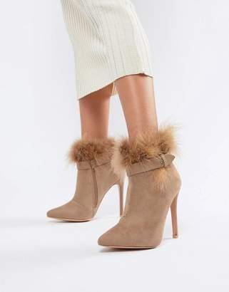 Missguided faux fur trim ankle boots