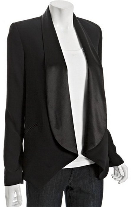 Brighton black satin shawl lapel 'Courtney' draped blazer
