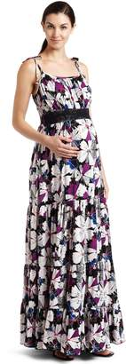 Everly Grey Women's Maternity Poppy Butterfly Print Maxi Dress