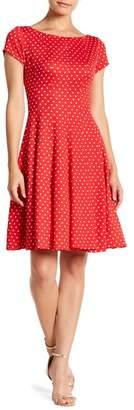 Gabby Skye Polka Dot Print Boatneck Dress