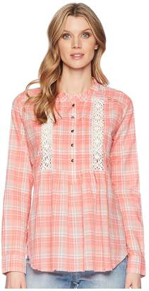Roper 1600 Coral Plaid Long Sleeve Tunic Women's Clothing