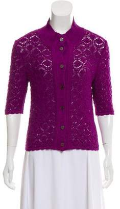 Oscar de la Renta Silk Short Sleeve Cardigan w/ Tags