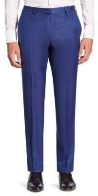Corneliani Solid Straight-Leg Wool Pants