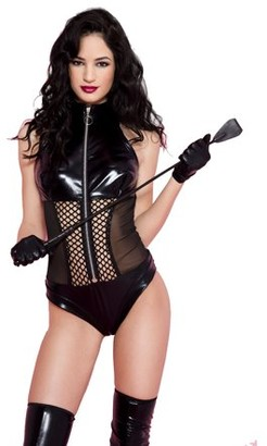 Music Legs Wet look teddy with side sheer panels and mid section fishnet 80035-M