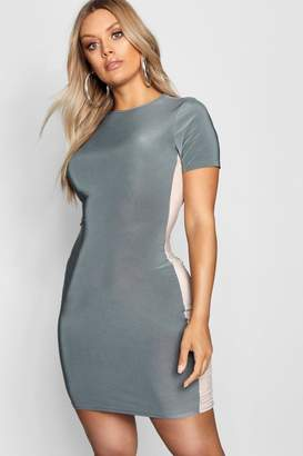 boohoo Plus Panelled Crew Neck Mini Dress