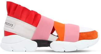 Emilio Pucci 30mm Ruffled Suede & Leather Sneakers