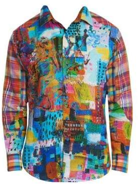 Robert Graham Men's Urban Dreams Abstract Print Linen Shirt - Size Medium