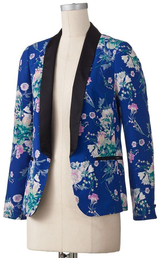 Lauren Conrad floral tuxedo blazer