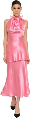 Rowen Rose LONG BACKLESS SILK SATIN DRESS