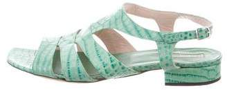 Dries Van Noten Crocodile Ankle Strap Sandals