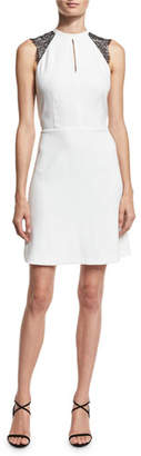 MICHAEL Michael Kors Halter-Neck Lace-Sleeve Dress, Ecru $175 thestylecure.com