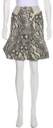 Yigal Azrouel Leather-Paneled Jacquard Skirt