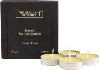 The Merchant Of Venice Orange Flower Tea Lights (Set of 4)