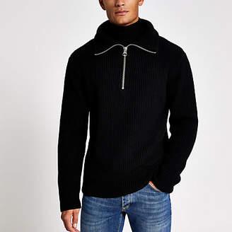River Island Black fisherman knit half zip jumper