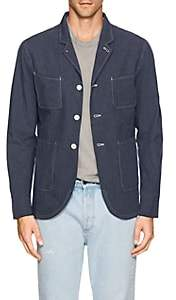 N. Max 'n Chester MAX 'N CHESTER MEN'S STRIPED COTTON THREE-BUTTON SPORTCOAT-BLUE SIZE S