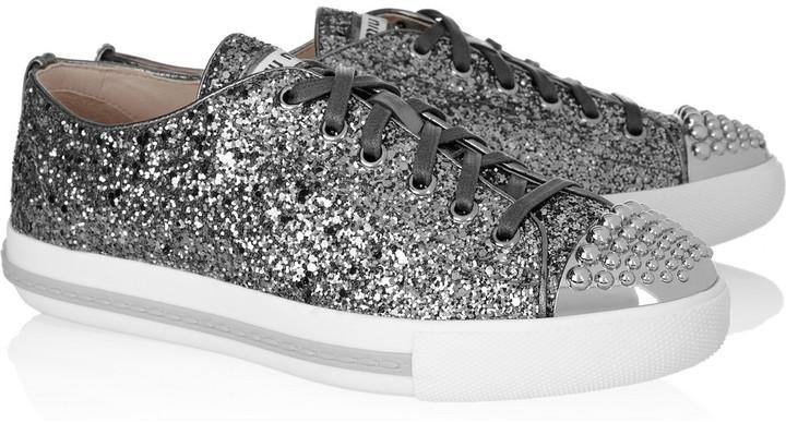 Miu Miu Studded glitter-finished leather sneakers