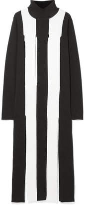 Marques Almeida Marques' Almeida - Cutout Striped Merino Wool Maxi Dress - Black
