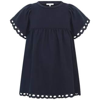 Chloé ChloeGirls Navy Dress With Broderie Anglaise Trims