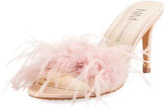 Neiman Marcus Vanity Slide Feather Mule