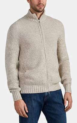 Loro Piana Men's Mélange Baby-Cashmere Zip-Front Sweater - Cream