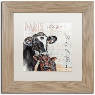 """Trademark Fine Art Dans """"la Ferme"""" Cow Birch Finish Framed Wall Art"""