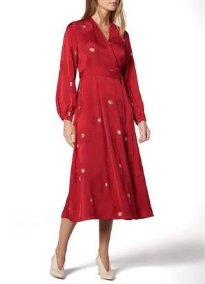 LK Bennett Elspeth Dahlia Jacquard Wrap Dress Red