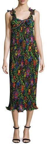 3.1 Phillip Lim3.1 Phillip Lim Sleeveless Floral Pleated Midi Dress, Black/Multicolor