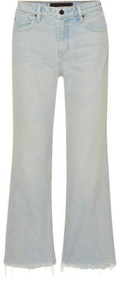 Alexander Wang Cropped Frayed High-rise Straight-leg Jeans - Light denim
