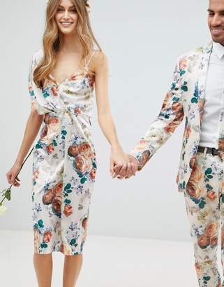 Asos DESIGN Bridesmaid midi dress with tie back in pretty floral print