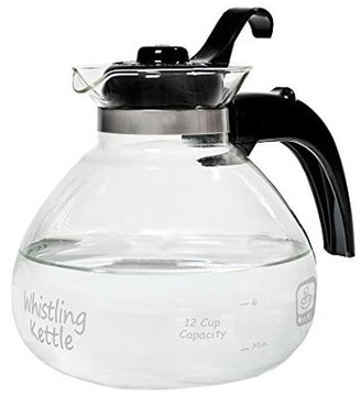 CAF Brew Medelco Brew Glass 12 Cup Stove Top Whistling Tea Kettle