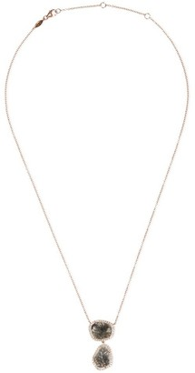 Lorde Jewlery Diamond slice 18k rose gold twin pendant necklace