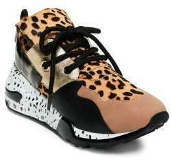 Steve Madden Cliff Leather Leopard Print Lace-Up Sneakers