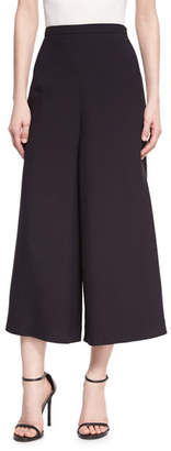 Andrew Gn Wide-Leg Cropped Crepe Pants, Black
