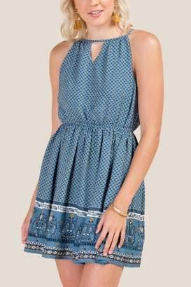 francesca's Carol Printed A-Line Dress - Dark Teal