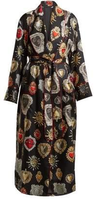 Dolce & Gabbana Heart Print Tie Waist Silk Robe - Womens - Black Print