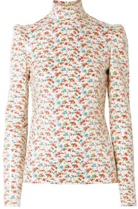 Pushbutton - Sequined Floral-print Voile Blouse - White