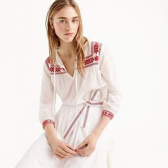 J.Crew Tall embroidered top in cotton voile