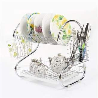 Diamond Home Modern Stainless Steel 2-Tier Drying Dish Rack and Draining Board