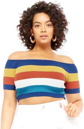 Forever 21 Plus Size Multi-Striped Off-the-Shoulder Crop Top