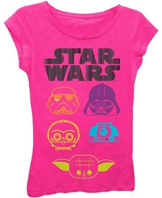 Star Wars Girls' Bright Neon Character Heads Short Puff Sleeve Graphic T-Shirt With Gold Foil