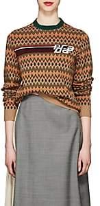 Prada Women's Dot & Chevron-Pattern Wool-Cashmere Sweater-Camel