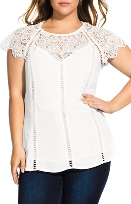 City Chic Lace Embellished Top