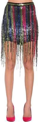 Amen Fringe Sequined Mini Skirt