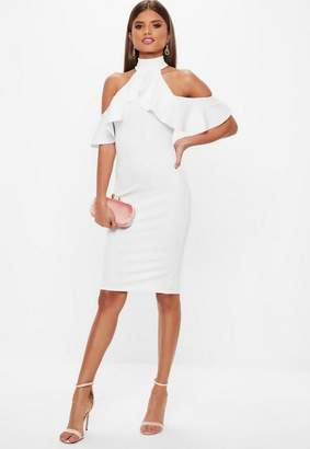 Missguided White High Neck Cold Shoulder Frill Midi Dress