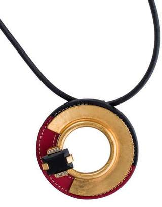 Marni Leather & Crystal Disc Pendant Necklace