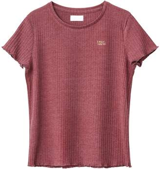 La Redoute Collections Short Ribbed T-Shirt, 10-16 Years